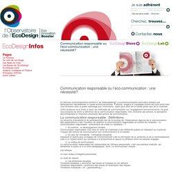 L'Observatoire de l'EcoDesign » Communication responsable ou l'éco-communication : une nécessité?