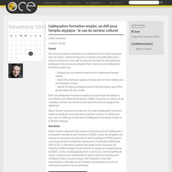 L'adéquation formation-emploi, un défi pour l'emploi atypique : le cas du secteur culturel. - OCE - L'Observatoire compétences-emplois