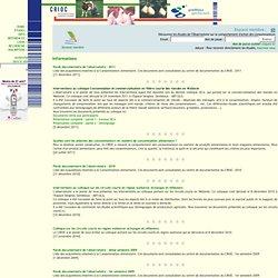 OBSERVATOIRE DE LA CONSOMMATION (Université Gembloux - Belgique) - 2011 - Interventions au colloque Consommation et commercialis