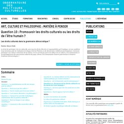 2012. La Revue de l'OPC article de P. Meyer-Bish sur les droits culturels