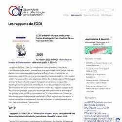 Les rapports de l'ODI - Observatoire de la Déontologie de l'Information