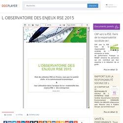 ⭐L OBSERVATOIRE DES ENJEUX RSE 2015