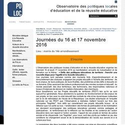 Journées du 16 et 17 novembre 2016 — Observatoire de la Réussite Educative