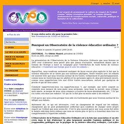 Pourquoi un Observatoire de la violence éducative ordinaire ?
