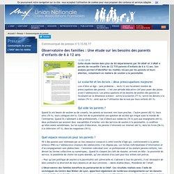 UNAF-Observatoire des familles: Une étude sur les besoins des parents d'enfants de 6 à 12 ans
