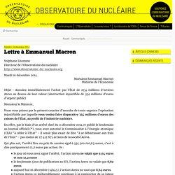 Lettre à Emmanuel Macron - Observatoire du nucléaire