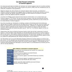 L'Observatoire des armes nucléaires - Les sites français contaminés à l'uranium appauvri