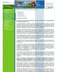 OBSERVATOIRE DES PESTICIDES - Le bilan sur la teneur en pesticides des eaux distribuées aux consommateurs pour la période 2001-2
