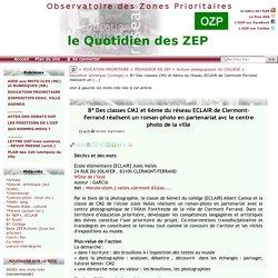 Des classes CM2 et 6ème du réseau ECLAIR de Clermont-Ferrand réalisent un(...)