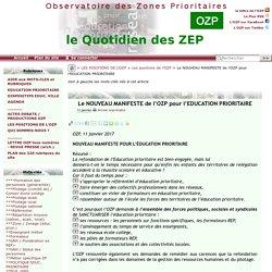 Le NOUVEAU MANIFESTE de l'OZP pour l'EDUCATION PRIORITAIRE - - OZP - Observatoire des Zones Prioritaires