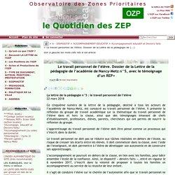 Le travail personnel de l'élève. Dossier de la Lettre de la pédagogie de(...) - - OZP - Observatoire des Zones Prioritaires