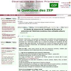 Un dossier de ressources de l'académie de Nice pour la prévention de