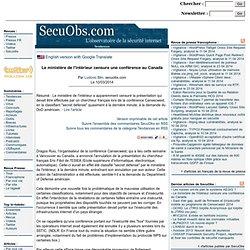 Le ministère de l'intérieur censure une conférence au Canada SecuObs