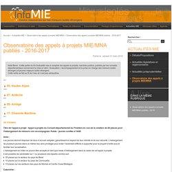 Observatoire des appels à projets MIE/MNA publiés - 2016-2017