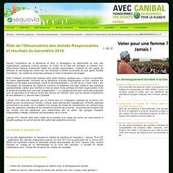 Rôle de l'Observatoire des Achats Responsables et résultats du baromètre 2010