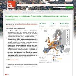 Dynamiques de population en France, fiche de l'Observatoire des territoires