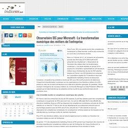 Observatoire IDC pour Microsoft : La transformation numérique des métiers de l'entreprise