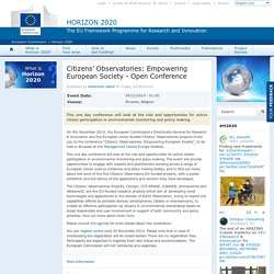 Citizens' Observatories: Empowering European Society - Open Conference