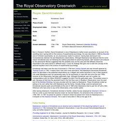 The Royal Observatory Greenwich - where east meets west: People: David Kinnebrook