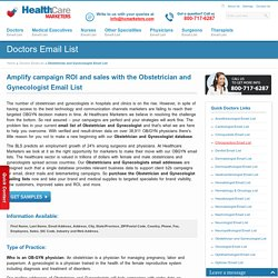 Obstetrician and Gynecologist Email List, Mailing Addresses and Database from Healthcare Marketers