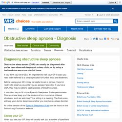 Obstructive sleep apnoea - Diagnosis