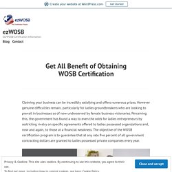 Get All Benefit of Obtaining WOSB Certification