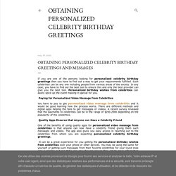 Obtaining Personalized Celebrity Birthday Greetings and Messages