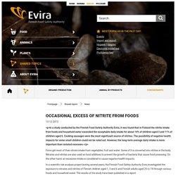 EVIRA 13/12/13 Occasional excess of nitrite from foods