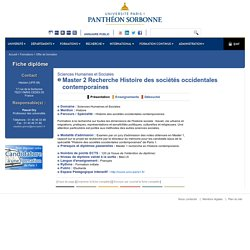 Master 2 Recherche Histoire des sociétés occidentales contemporaines