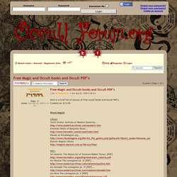 View topic - Free Magic and Occult books and Occult PDF's
