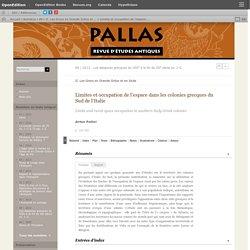 Limites et occupation de l'espace dans les colonies grecques du Sud de l'Italie
