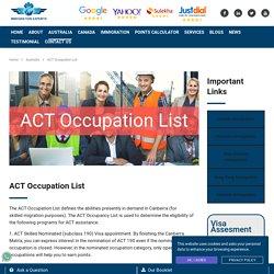 Australian Capital Territory Act Occupation List