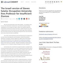 The Israeli version of Steven Salaita: Occupation University fires Professor for Insufficient Zionism