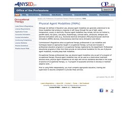 NYS Occupational Therapy:Practice Guidelines:PAMs