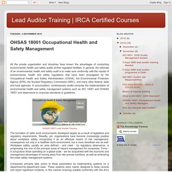 IRCA Certified Courses : OHSAS 18001 Occupational Health and Safety Management