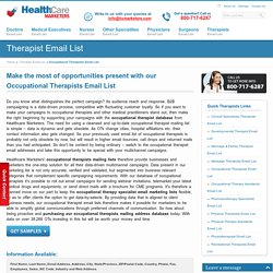 Occupational Therapists Email List, Mailing Addresses and Database from Healthcare Marketers