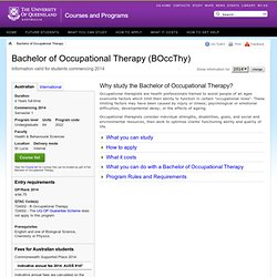 Bachelor of Occupational Therapy - Courses and Programs - The University of Queensland, Australia