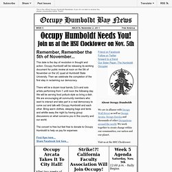 Occupy Humboldt Bay Newsletter