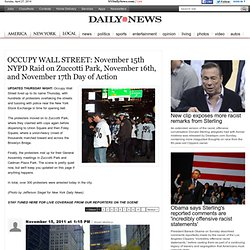 Showdown at Zuccotti Park: The NYPD's raid on Occupy Wall Street NYC