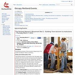 Occupy Portland Events - PortlandWiki