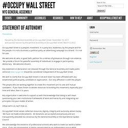 Statement of Autonomy