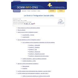 ocmw-info-cpas - Droit à l'intégration sociale - DIS