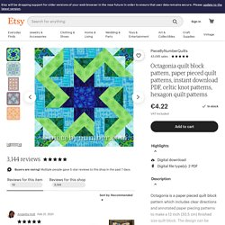 Octagonia paper pieced quilt block pattern by PieceByNumberQuilts