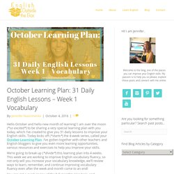 October Learning Plan: 31 Daily English Lessons - Week 1 Vocabulary - English Outside The Box