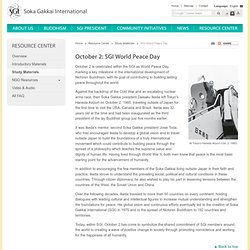 October 2: SGI World Peace Day | Resource Center