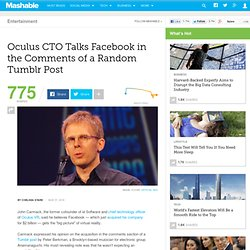 Oculus CTO Talks Facebook in the Comments of a Random Tumblr Post