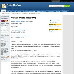 Odwalla Gets Juiced Up [Daily Double] November 27, 2000