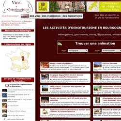 Oenotourisme en Bourgogne : Hébergement, gastronomie, visites, dégustations, animations ...