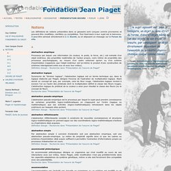 Fondation Piaget notions