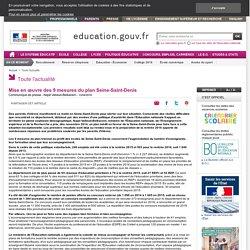 Mise en œuvre des 9 mesures du plan Seine-Saint-Denis